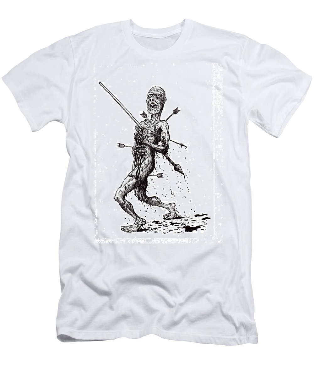Dark Men's T-Shirt (Athletic Fit) featuring the drawing Death March by Tobey Anderson