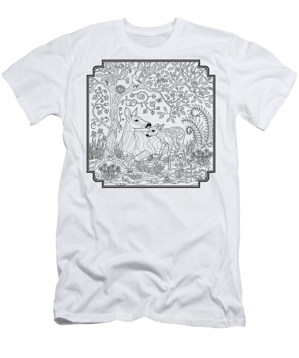 Deer Fantasy Forest Coloring Page T Shirt For Sale By Crista Forest