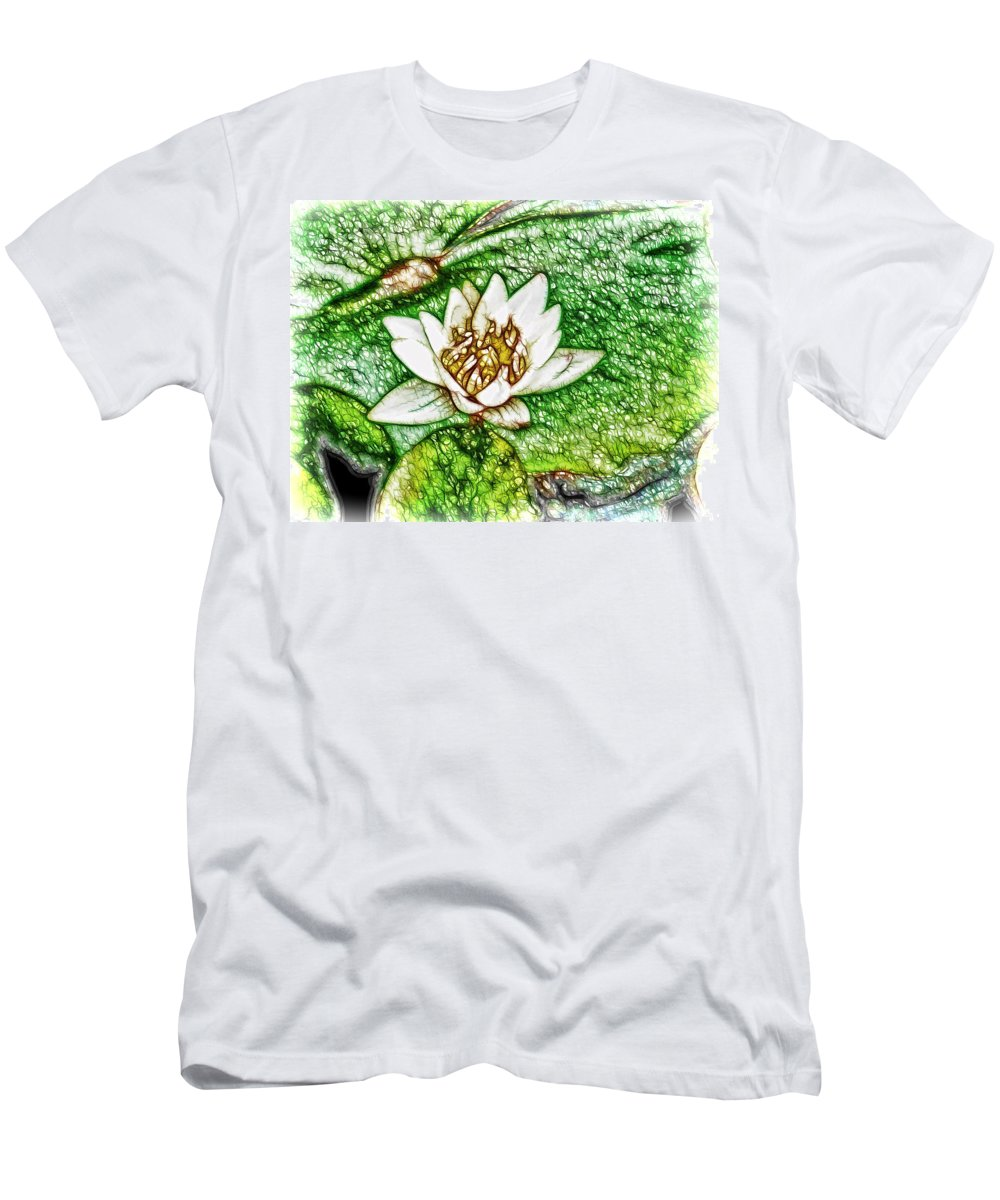 Lotus Men's T-Shirt (Athletic Fit) featuring the painting Delicate Fragrance by Jeelan Clark
