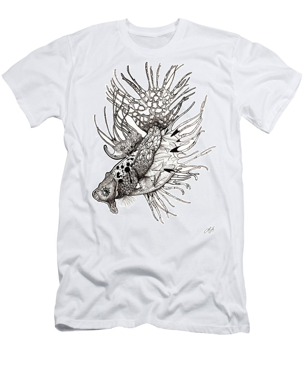 Fish Men's T-Shirt (Athletic Fit) featuring the drawing Delicate by Sydney Gregory