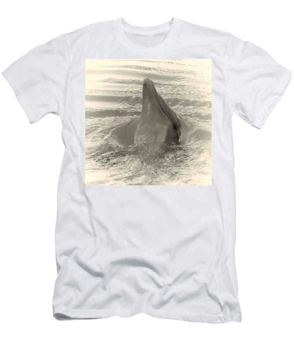 Loro Park Men's T-Shirt (Athletic Fit) featuring the photograph Delphin 1 by Jouko Lehto