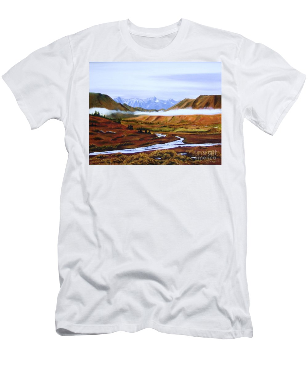 Art Men's T-Shirt (Athletic Fit) featuring the painting Denali Autumn by Mary Rogers
