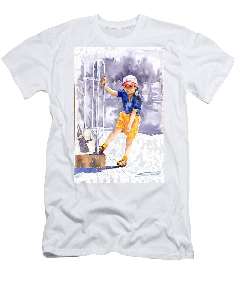 Watercolor Watercolour Figurativ Portret Men's T-Shirt (Athletic Fit) featuring the painting Denis 02 by Yuriy Shevchuk