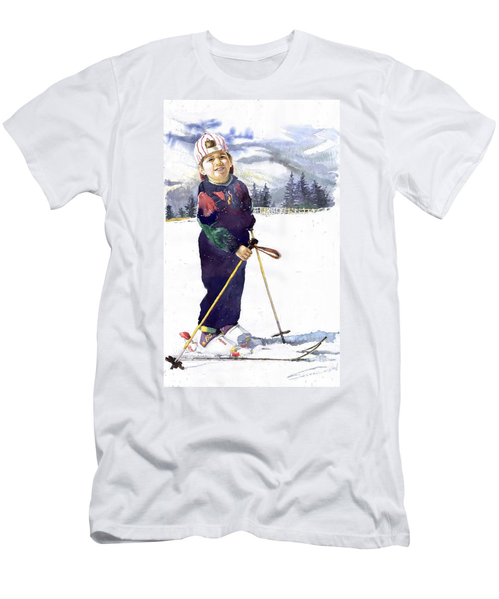 Watercolor Watercolour Figurative Ski Children Portret Realism Men's T-Shirt (Athletic Fit) featuring the painting Denis 03 by Yuriy Shevchuk