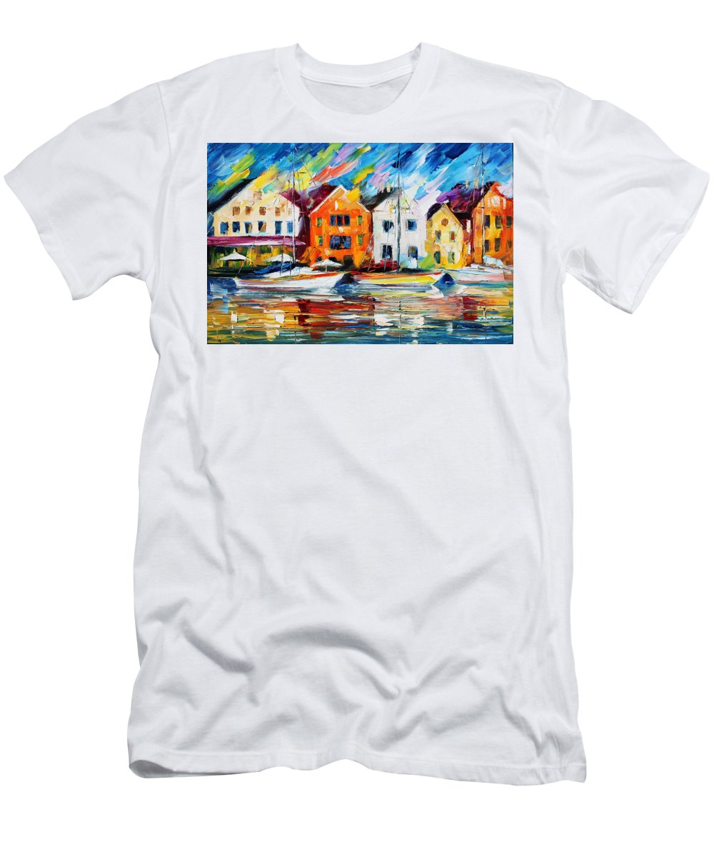 Afremov Men's T-Shirt (Athletic Fit) featuring the painting Denmark by Leonid Afremov