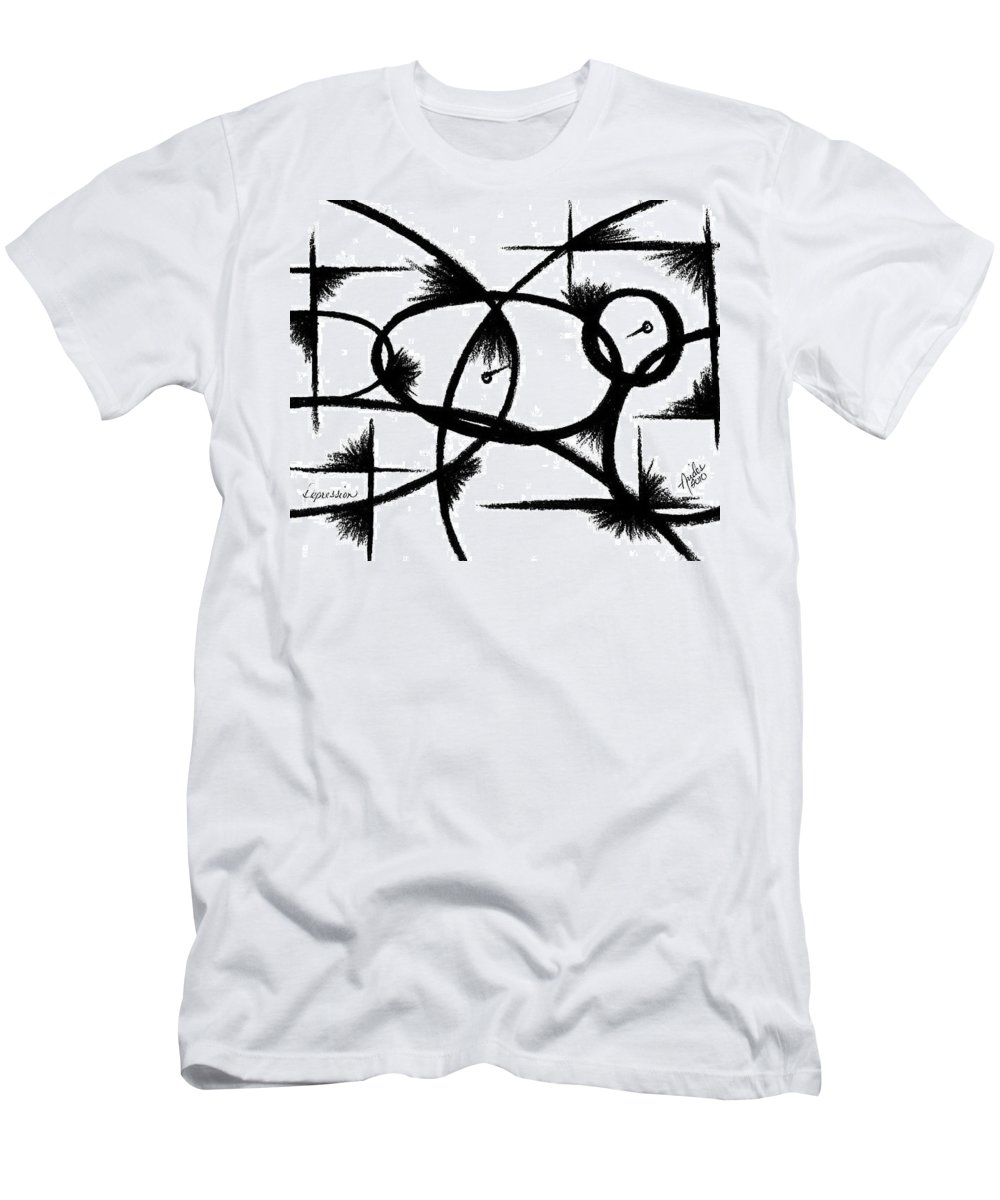 Modernist - Contemporany Men's T-Shirt (Athletic Fit) featuring the drawing Depression I by Arides Pichardo