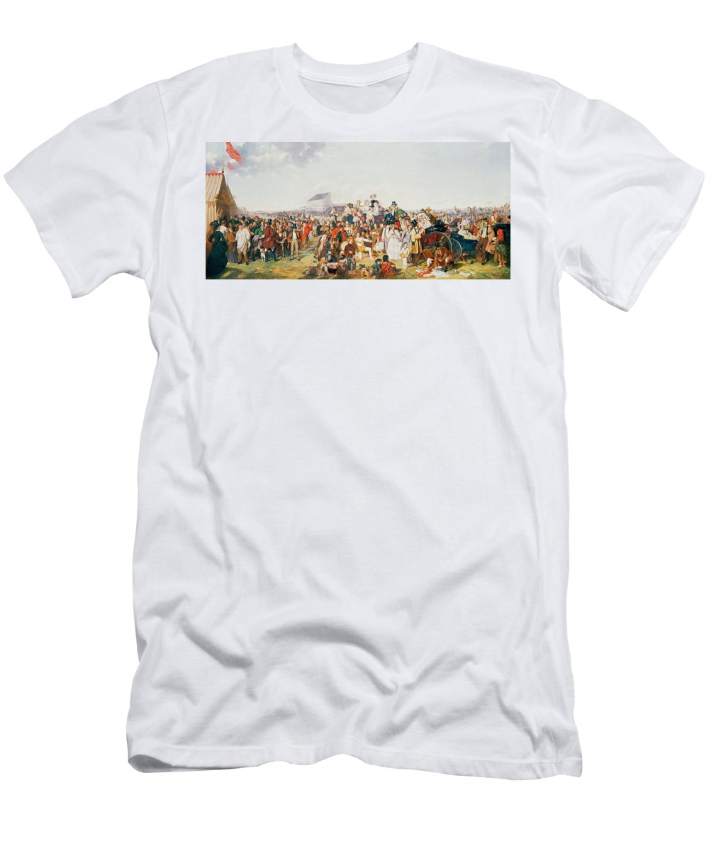Derby Day (oil On Canvas) By William Powell Frith (1819-1909) (after) Men's T-Shirt (Athletic Fit) featuring the painting Derby Day by William Powell Frith
