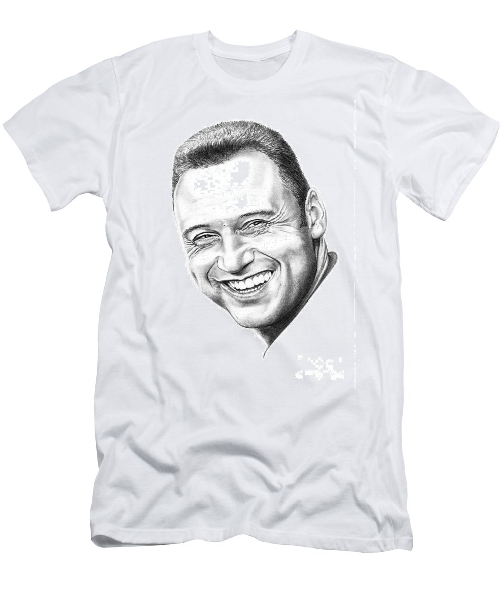 Portrait Men's T-Shirt (Athletic Fit) featuring the drawing Derek Jeter by Murphy Elliott