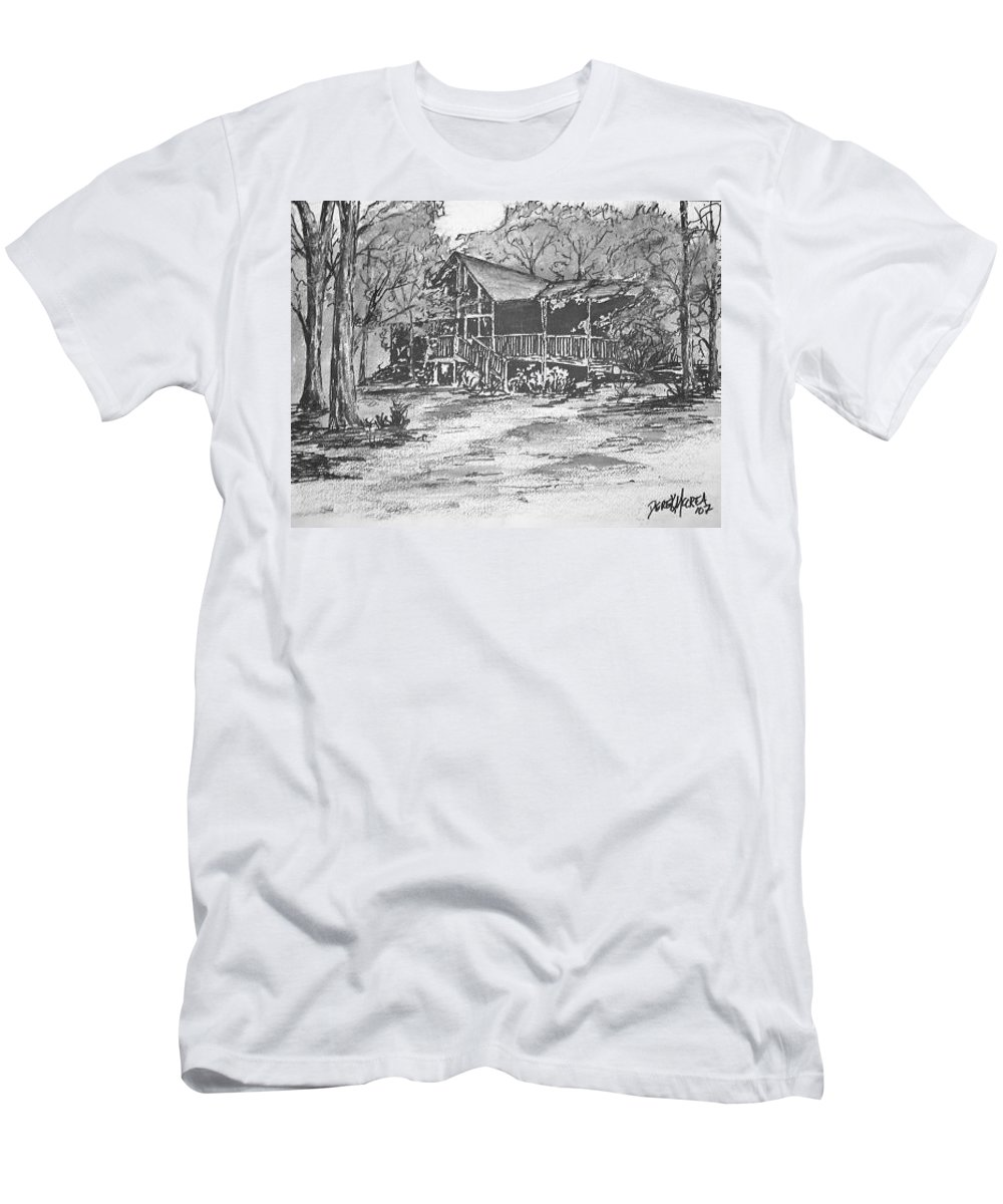 Barn Men's T-Shirt (Athletic Fit) featuring the painting Derrick by Derek Mccrea