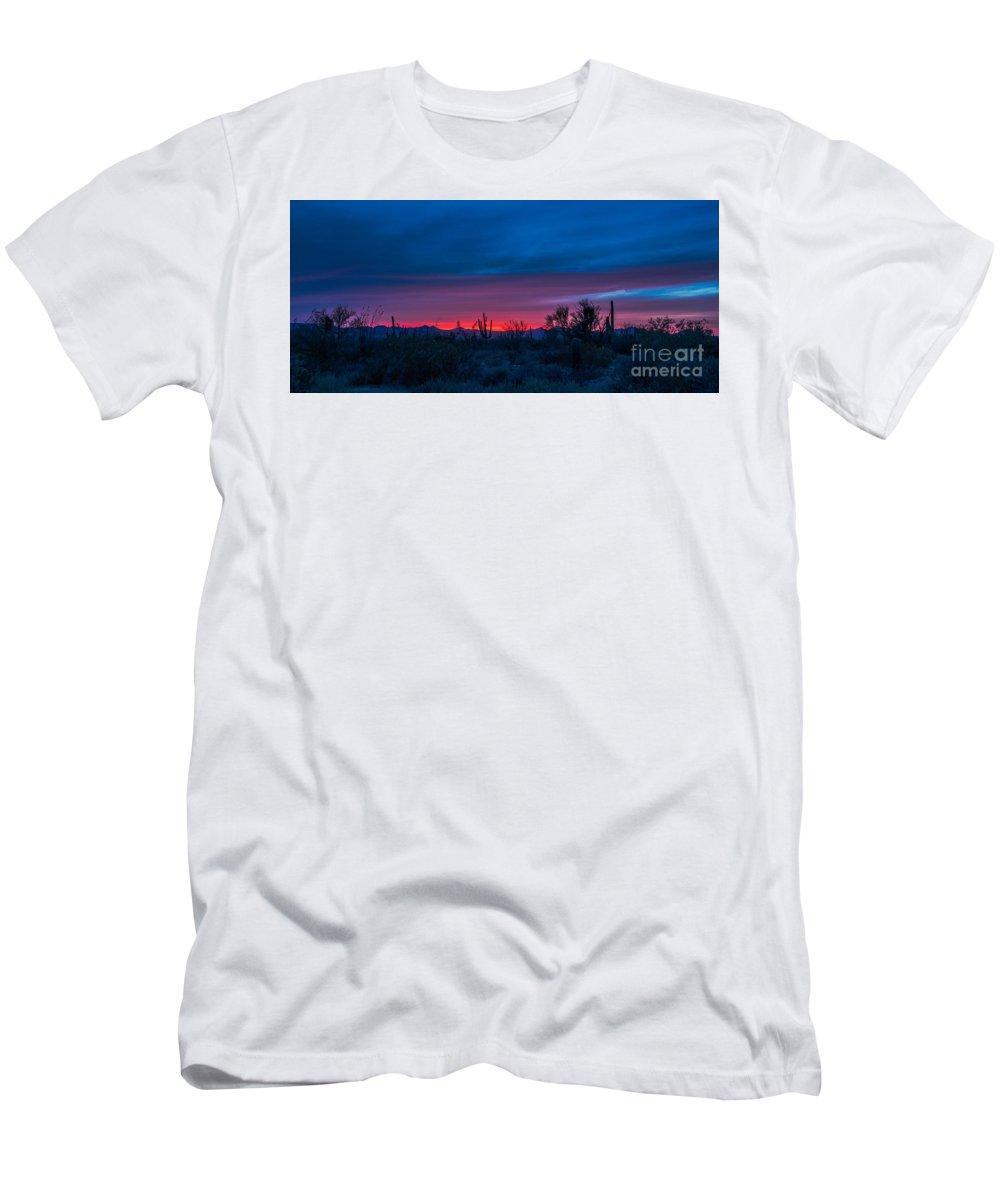 Arizona Men's T-Shirt (Athletic Fit) featuring the photograph Desert Sunset by Barbara Hayton