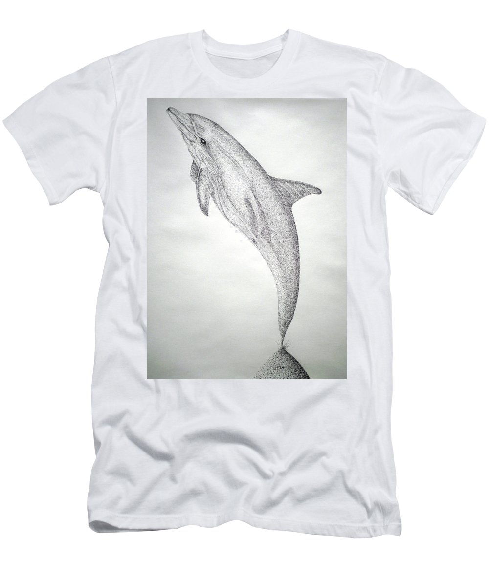 Dolphin Paintings Men's T-Shirt (Athletic Fit) featuring the drawing Desintigrating Porpoise by Mayhem Mediums