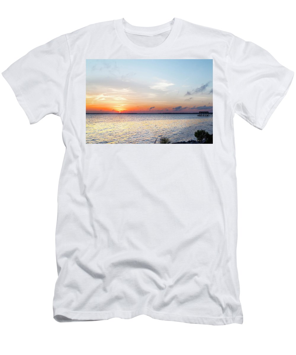 Destin Men's T-Shirt (Athletic Fit) featuring the photograph Destin Sunset Over The Bay by Kay Brewer