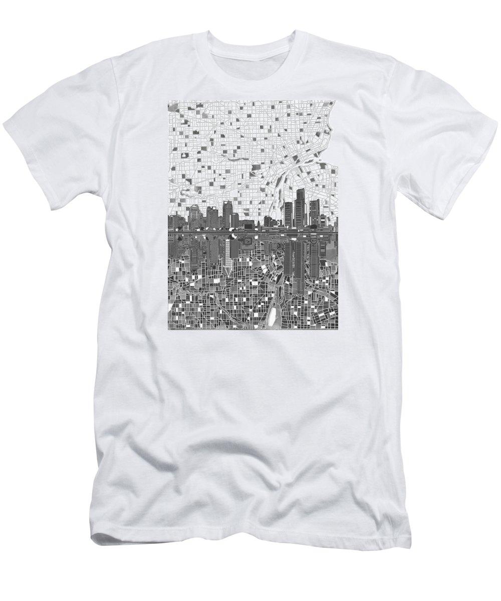 Detroit Men's T-Shirt (Athletic Fit) featuring the painting Detroit Skyline Map 5 by Bekim Art