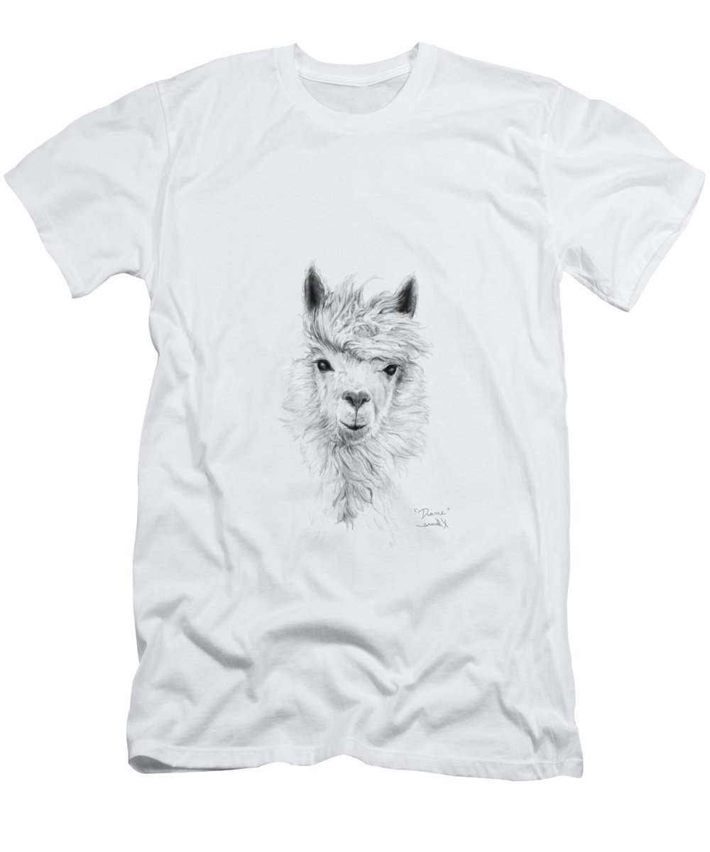 Llama Art Men's T-Shirt (Athletic Fit) featuring the drawing Diane by K Llamas