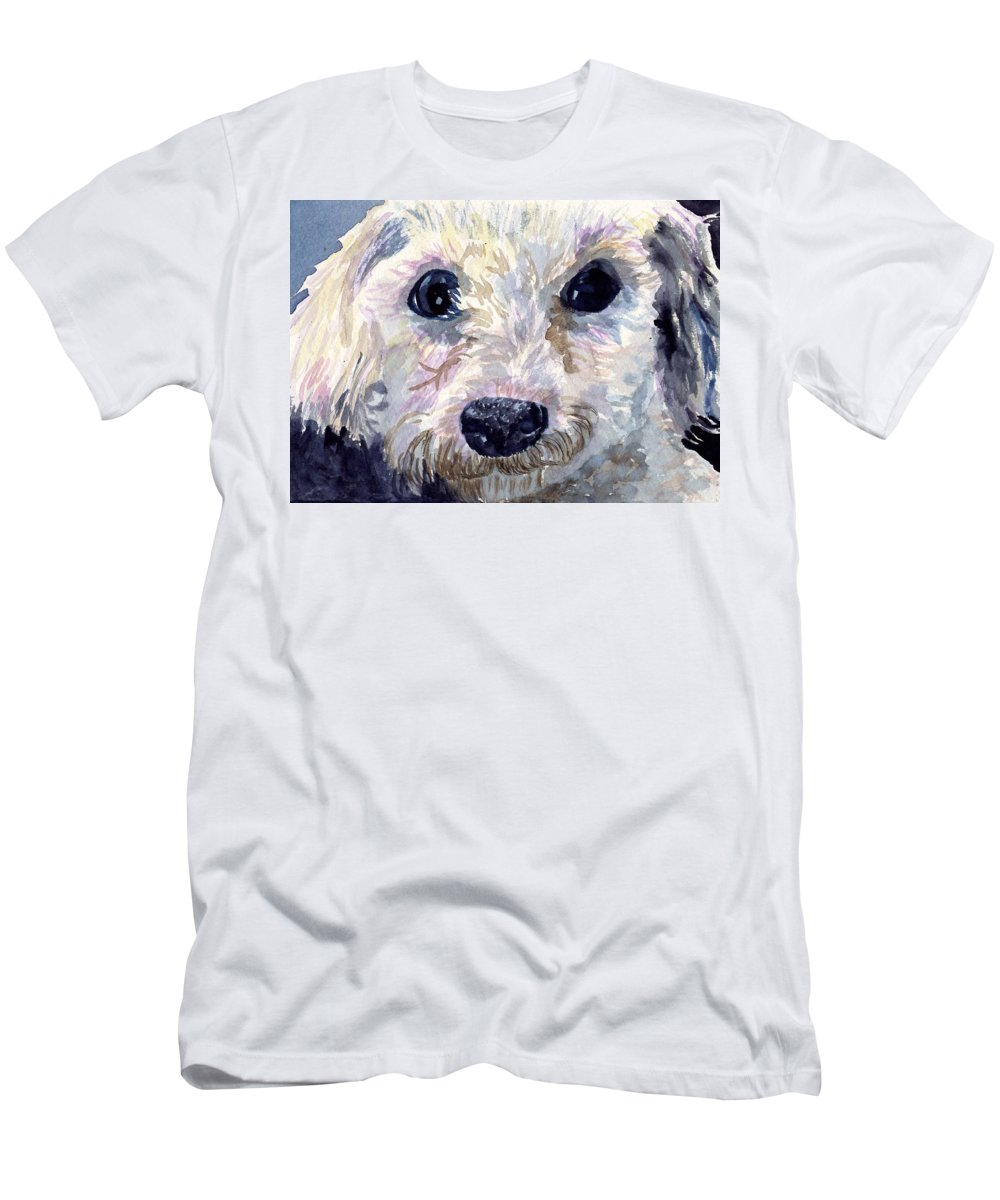 Bichon Frise Men's T-Shirt (Athletic Fit) featuring the painting Did You Say Lunch by Sharon E Allen