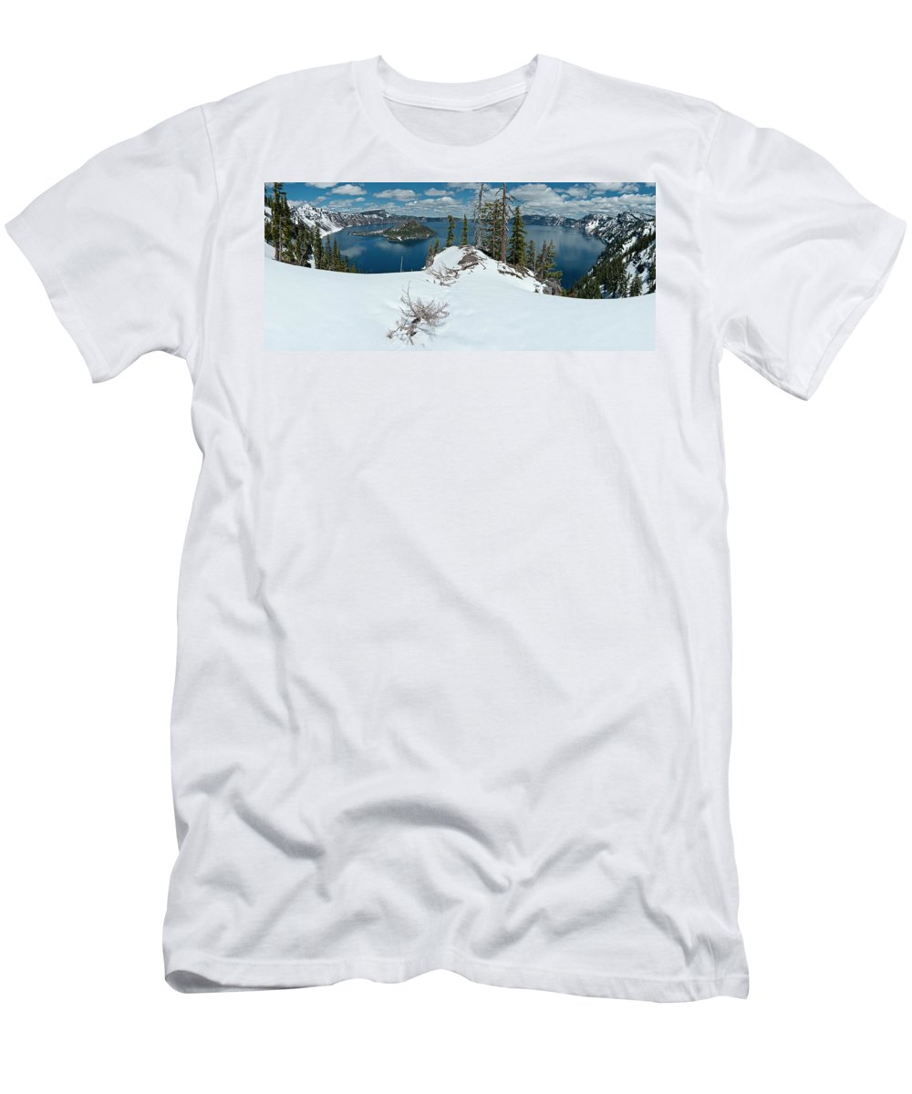 Panorama Men's T-Shirt (Athletic Fit) featuring the photograph Discovery Point Panorama by Greg Nyquist