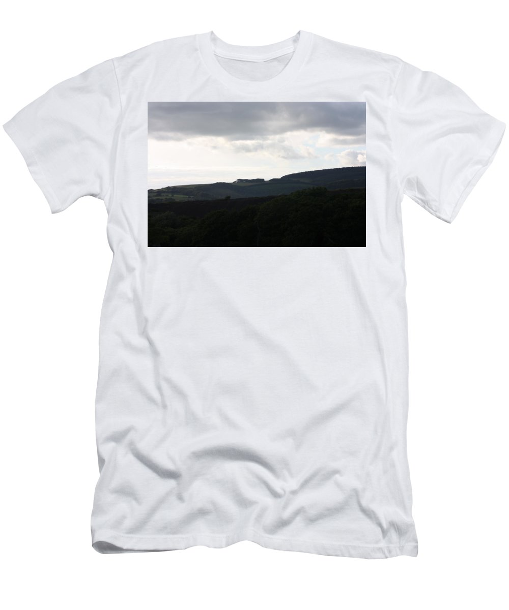 Non_city Men's T-Shirt (Athletic Fit) featuring the photograph Distant Blue Skies by Frances Lewis