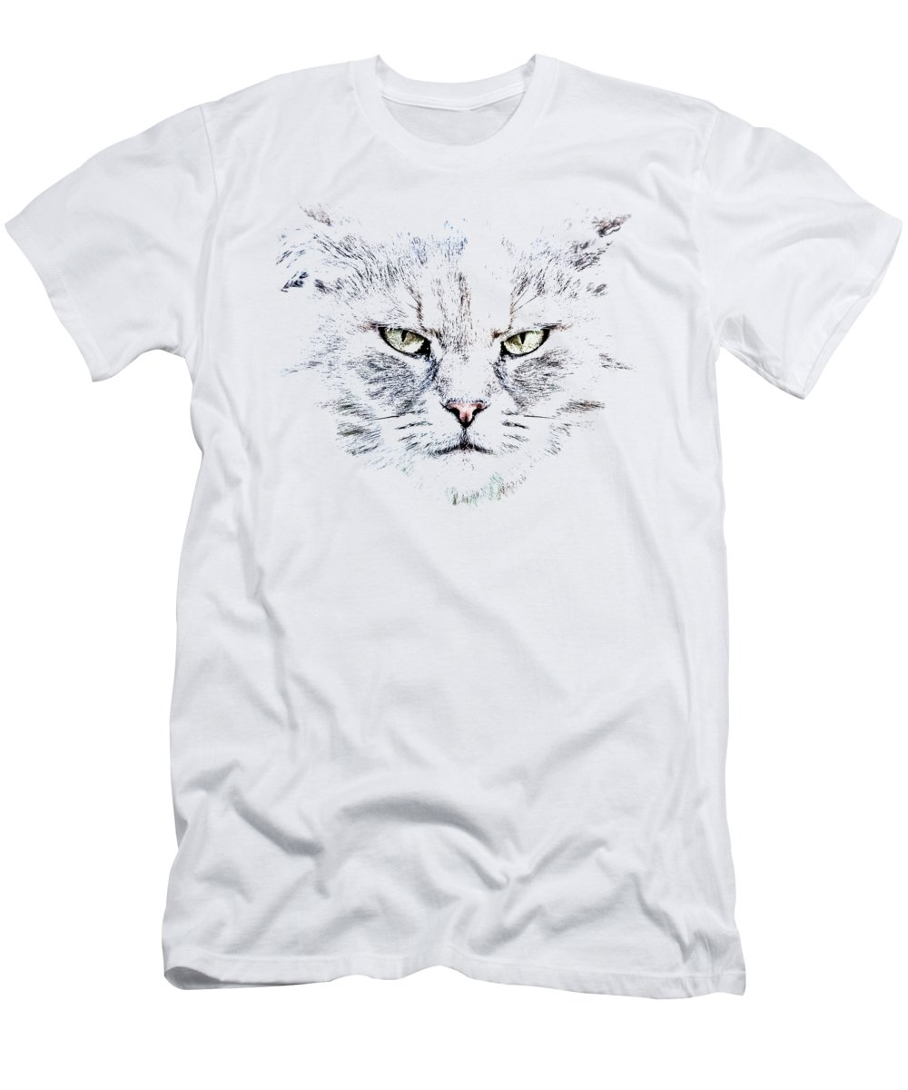 Cat Men's T-Shirt (Athletic Fit) featuring the photograph Disturbed Cat by Everet Regal