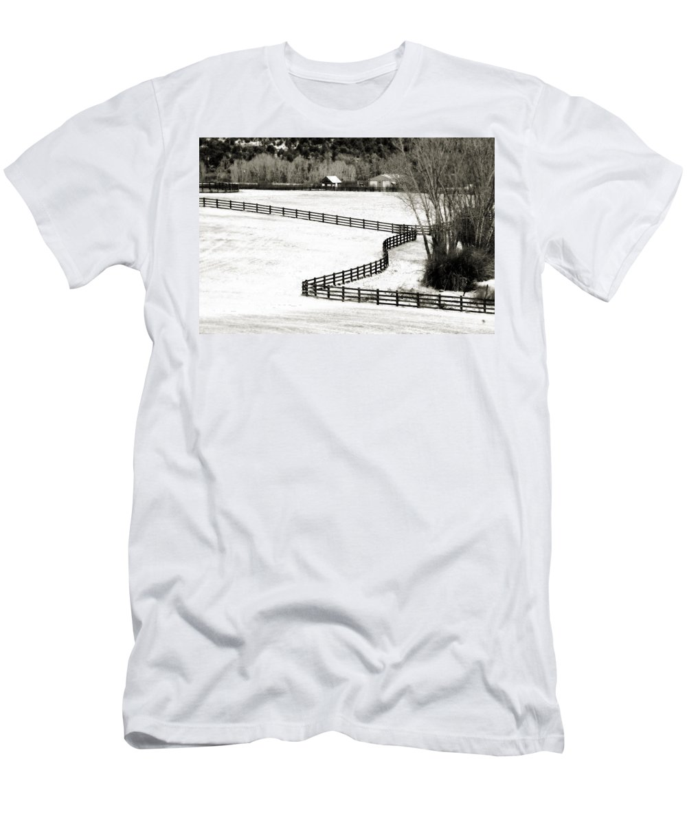 Americana Men's T-Shirt (Athletic Fit) featuring the photograph Dividing Lines by Marilyn Hunt