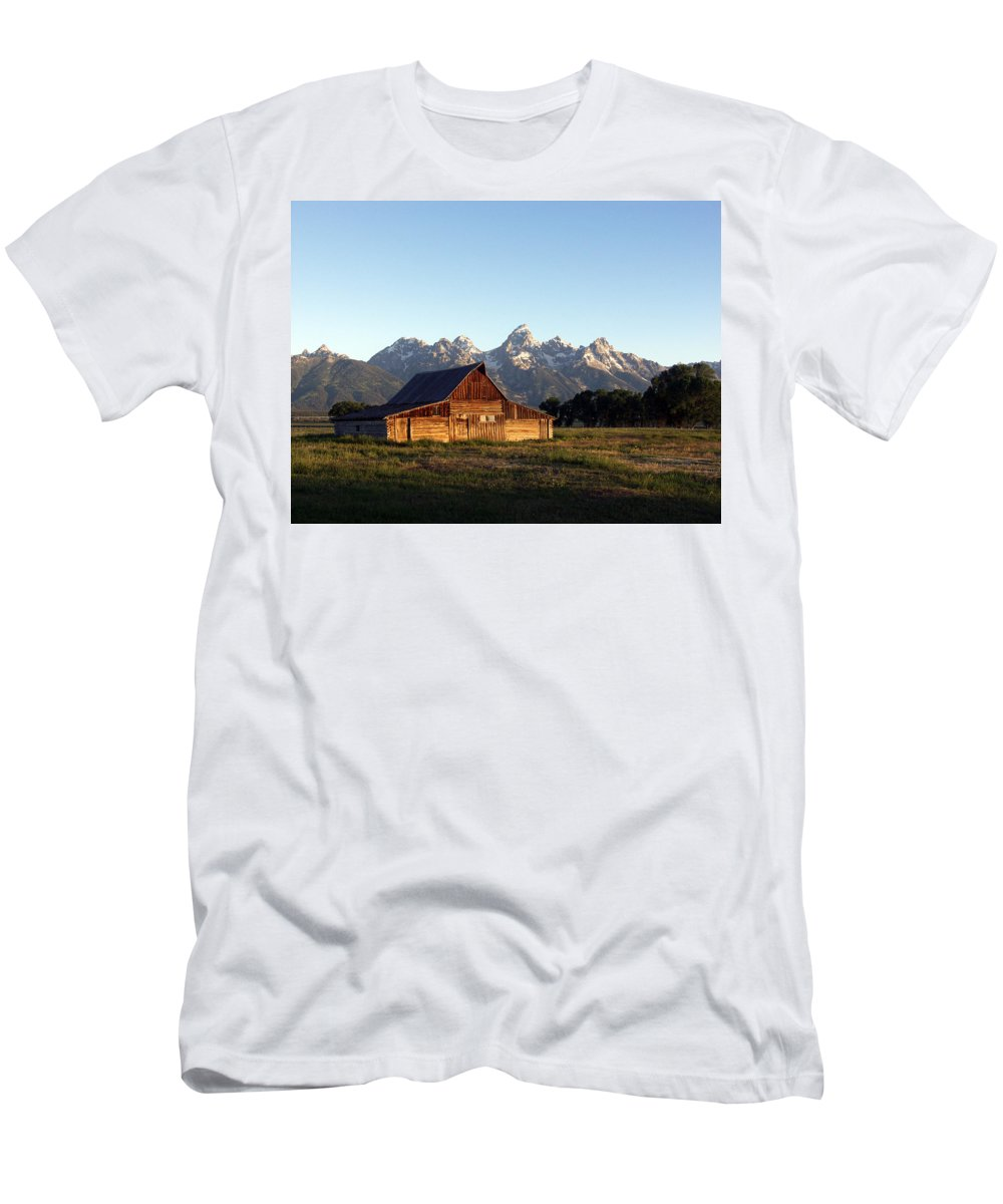 Landscape Yellowstone Grand Tetons Cabin Men's T-Shirt (Athletic Fit) featuring the photograph Dnrd0104 by Henry Butz
