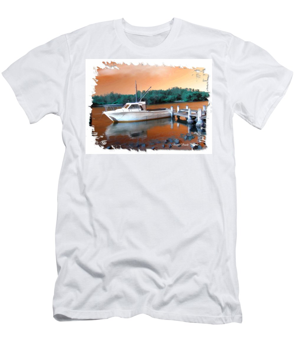 Boat Men's T-Shirt (Athletic Fit) featuring the photograph Do-00108 Boat At Sunset by Digital Oil