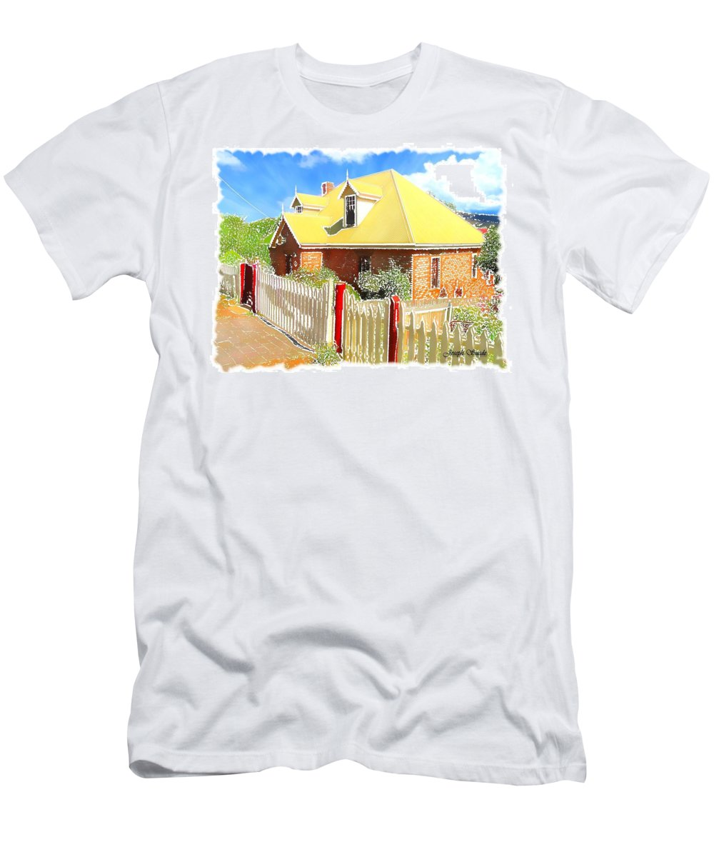 House Men's T-Shirt (Athletic Fit) featuring the photograph Do-00142 House And Fence by Digital Oil