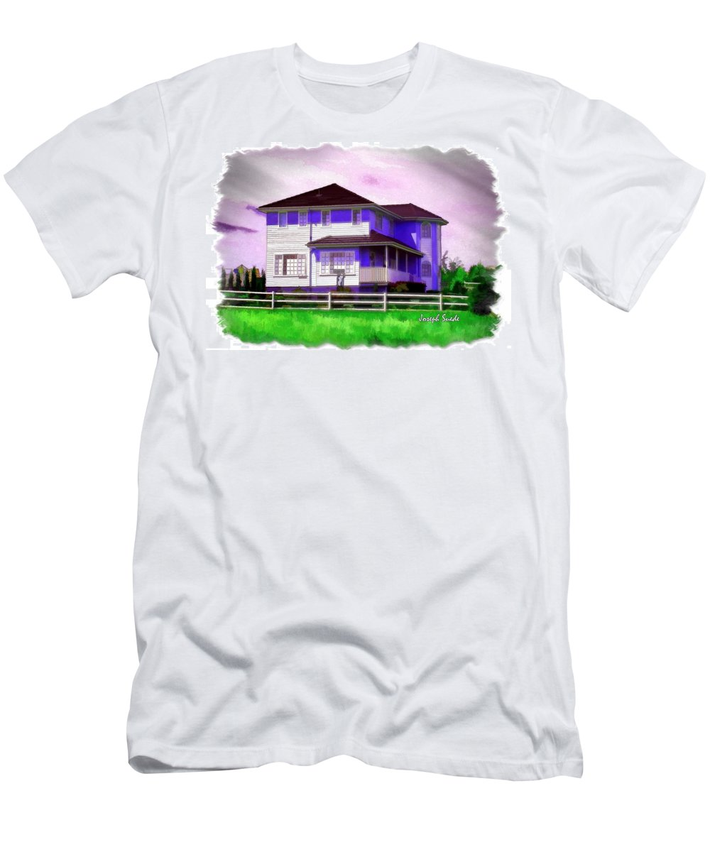 House Men's T-Shirt (Athletic Fit) featuring the photograph Do-00258 House In Grindelwald Swiss Village by Digital Oil