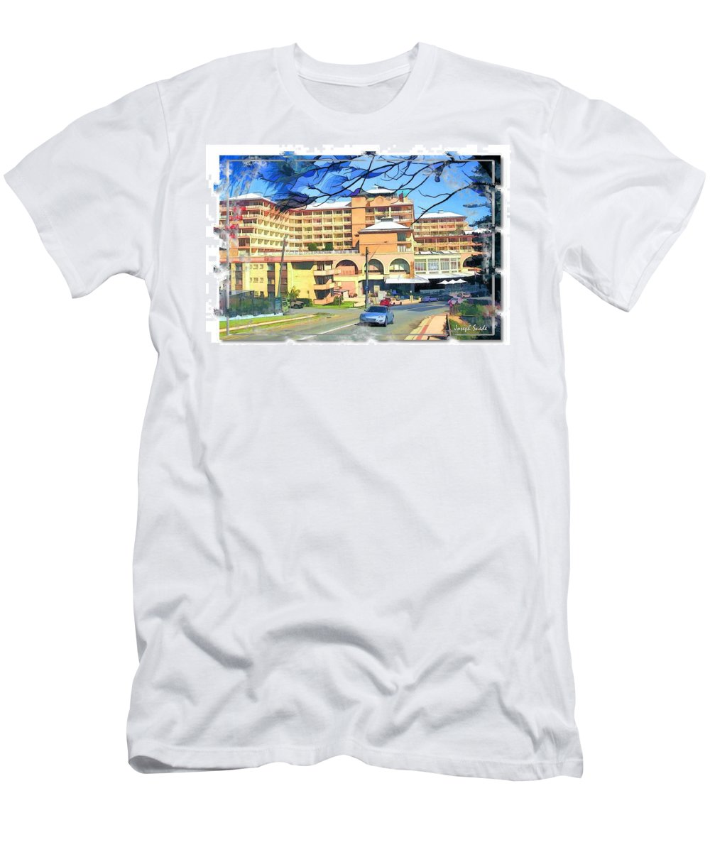 Crown Plazza Men's T-Shirt (Athletic Fit) featuring the photograph Do-00288 Crowne Plazza From A Hill by Digital Oil