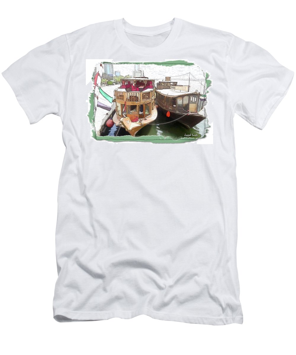 Boats Men's T-Shirt (Athletic Fit) featuring the photograph Do-00475 Old Boats by Digital Oil