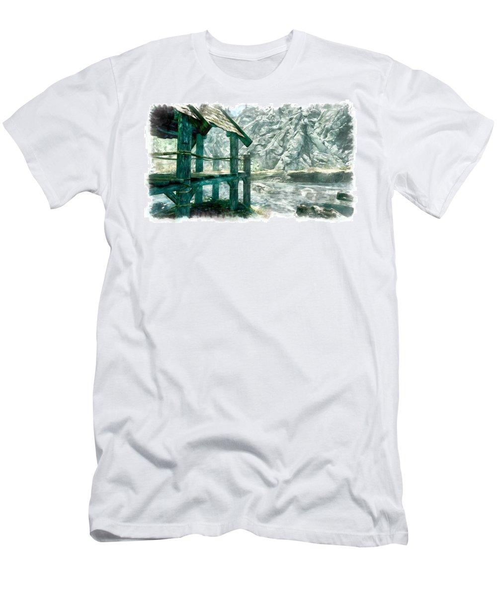 Stream Men's T-Shirt (Athletic Fit) featuring the digital art Dock by Marjan Mencin