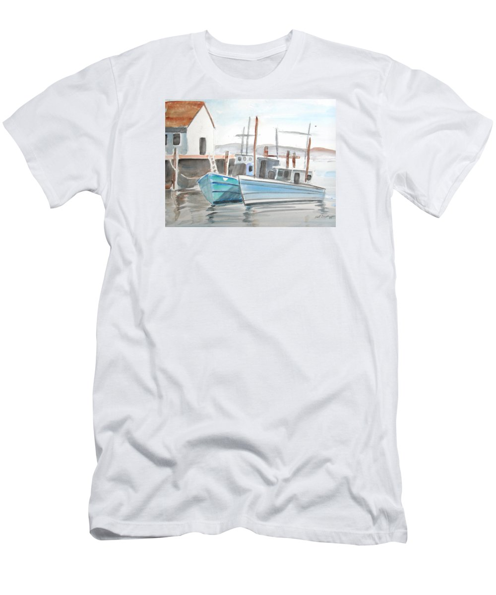 Landscape Men's T-Shirt (Athletic Fit) featuring the painting Dockside by Scott Easom
