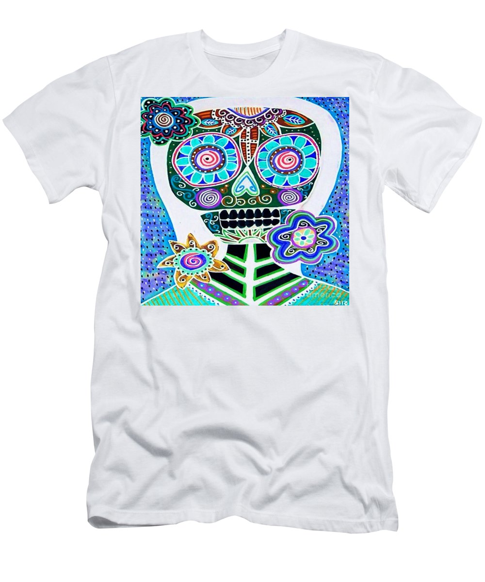 Men's T-Shirt (Athletic Fit) featuring the mixed media Dod Art 123blu by Sandra Silberzweig