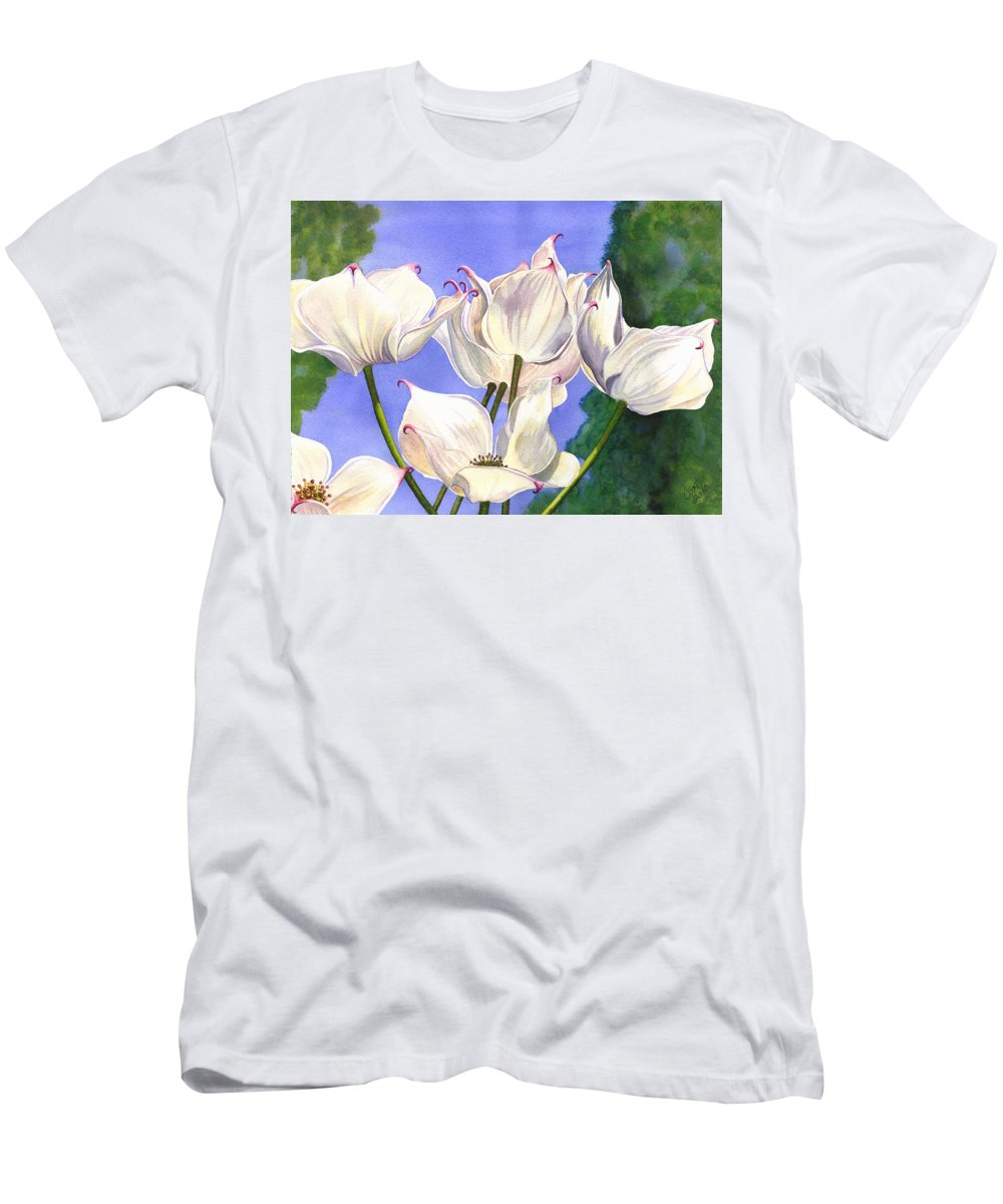 Flower Men's T-Shirt (Athletic Fit) featuring the painting Dogwood by Catherine G McElroy