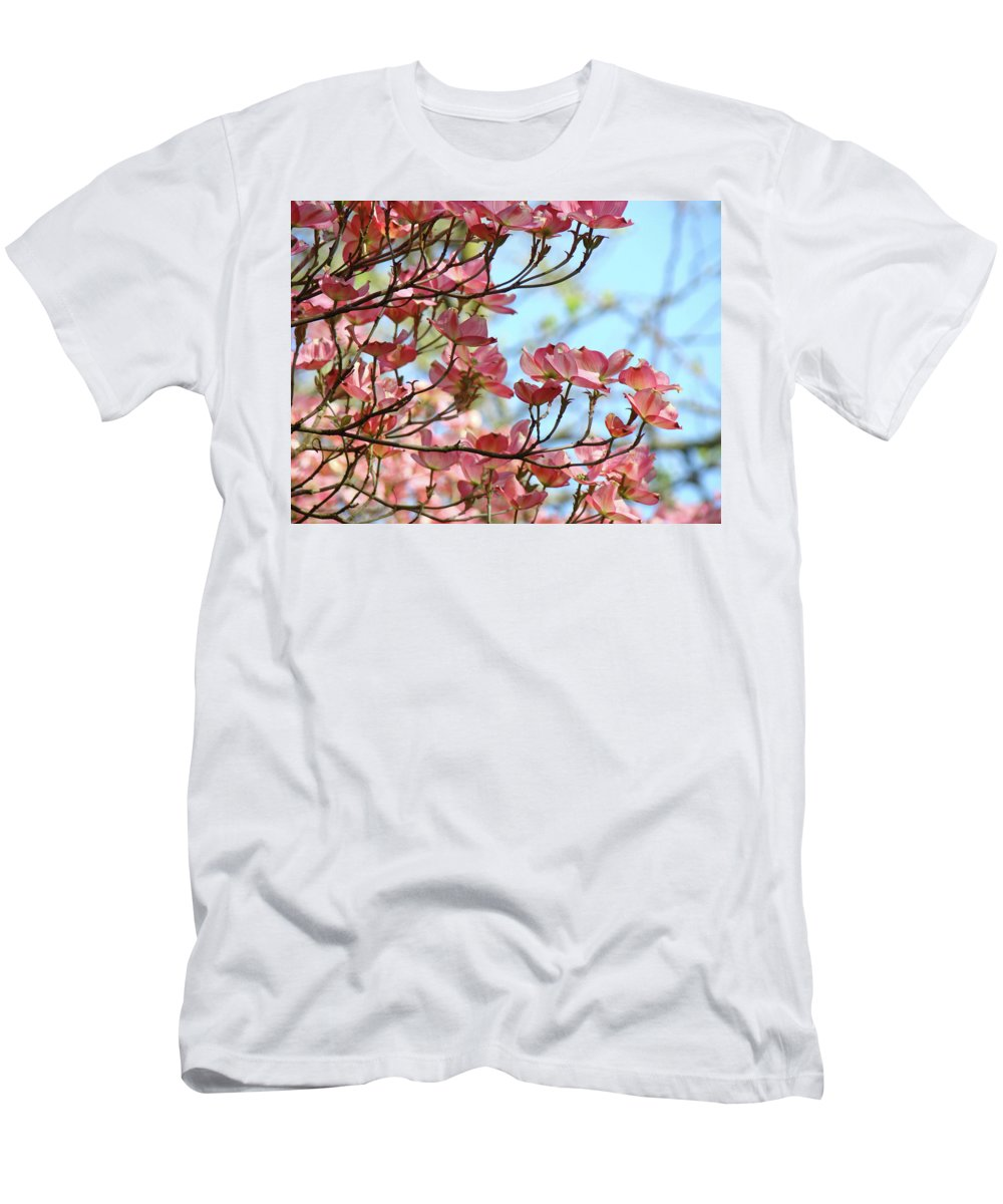 Dogwood Men's T-Shirt (Athletic Fit) featuring the photograph Dogwood Flowering Trees Pink Dogwood Flowers Baslee Troutman by Baslee Troutman