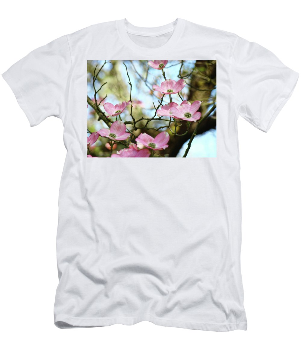 Dogwood Men's T-Shirt (Athletic Fit) featuring the photograph Dogwood Flowers Pink Dogwood Tree Landscape 9 Giclee Art Prints Baslee Troutman by Baslee Troutman