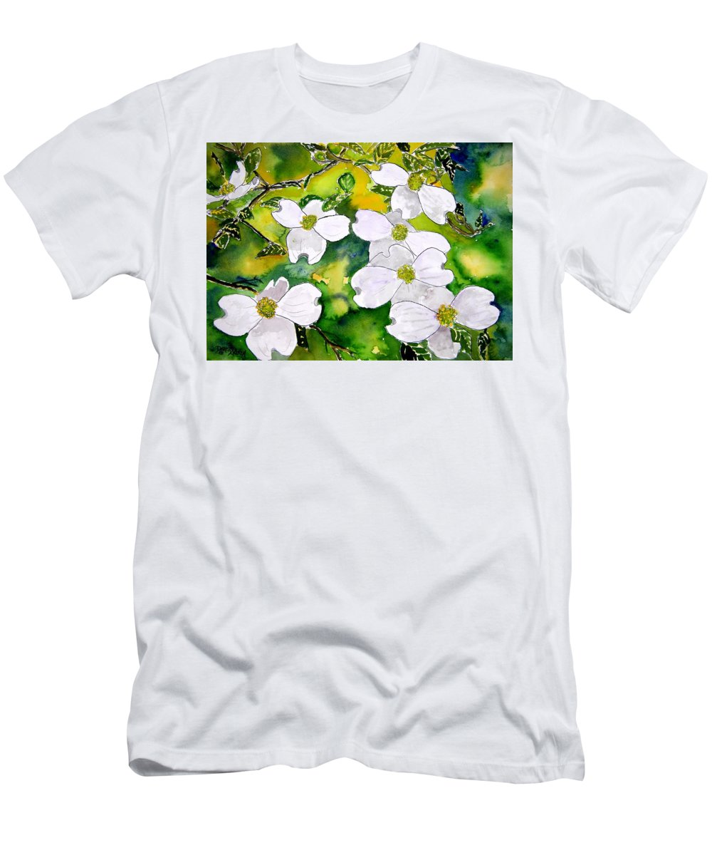 Dogwood Men's T-Shirt (Athletic Fit) featuring the painting Dogwood Tree Flowers by Derek Mccrea