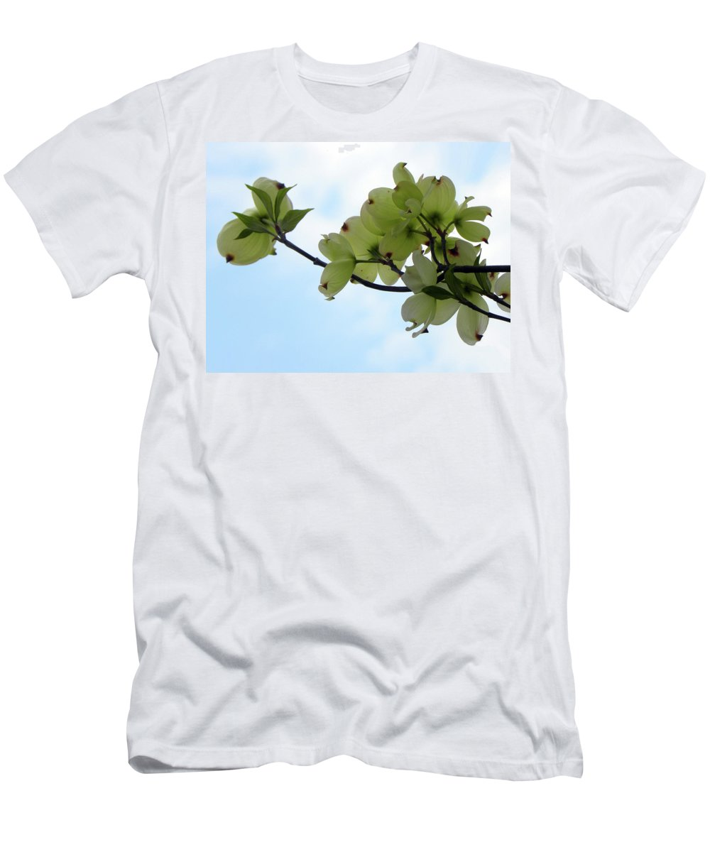 Dogwoods Men's T-Shirt (Athletic Fit) featuring the photograph Dogwoods Facing The Sky by Sandi OReilly