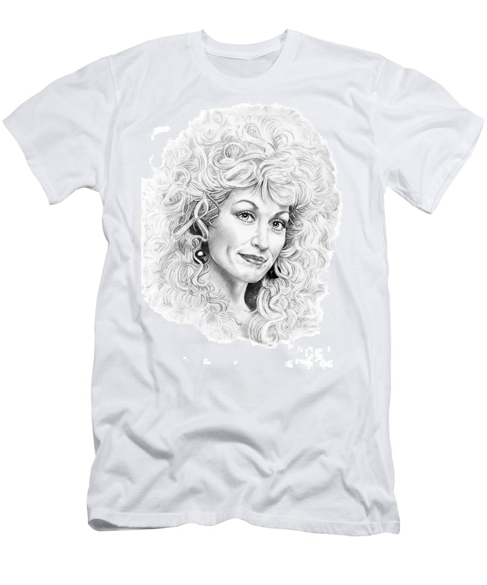 Portrait Men's T-Shirt (Athletic Fit) featuring the drawing Dolly Parton by Murphy Elliott