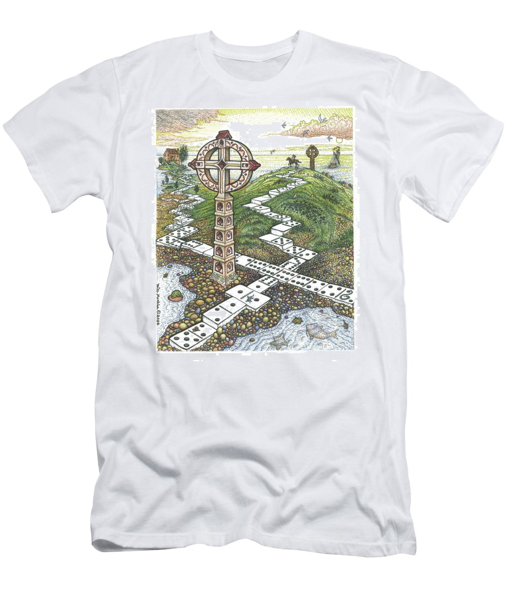 Landscape Men's T-Shirt (Athletic Fit) featuring the drawing Domino Crosses by Bill Perkins