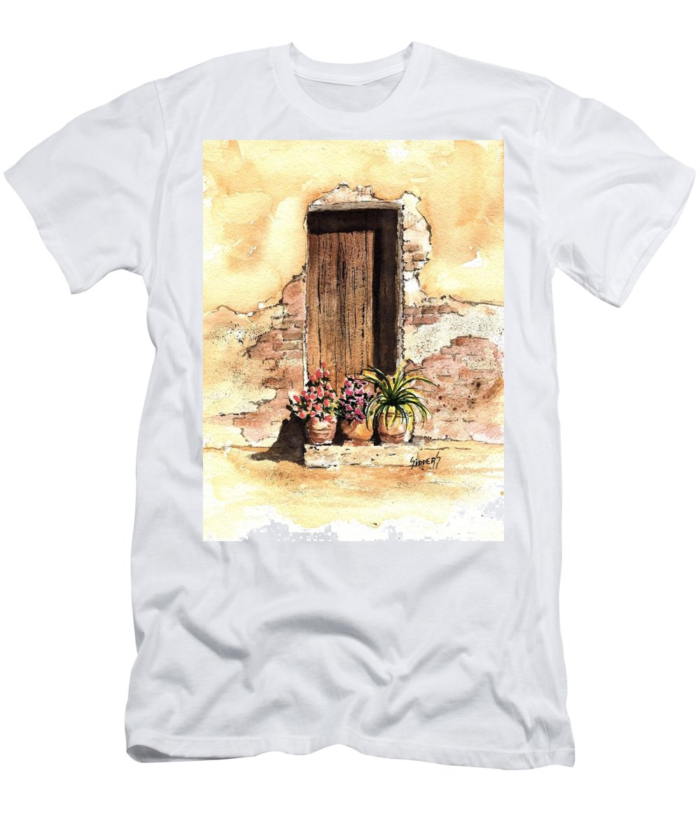 Door Men's T-Shirt (Athletic Fit) featuring the painting Door With Flowers by Sam Sidders