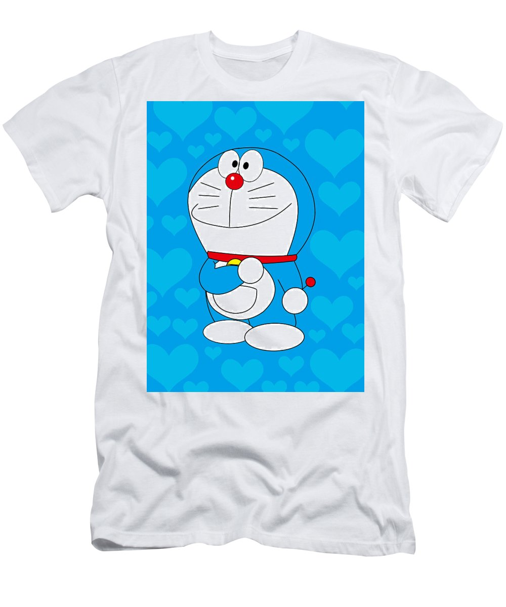 Men's T-Shirt (Athletic Fit) featuring the drawing Doraemon by Ryusei Kasagawa