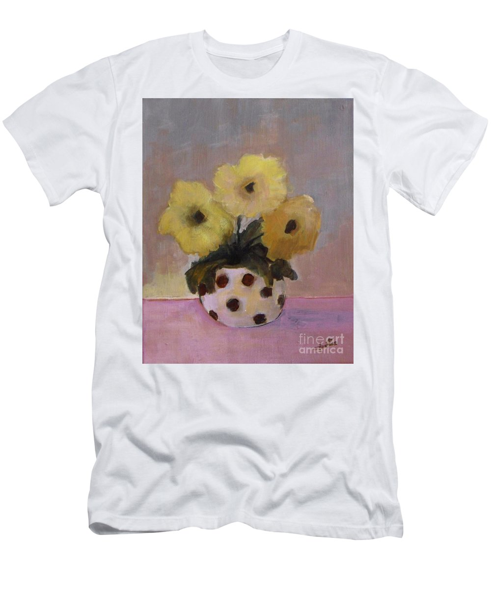 Dotted Men's T-Shirt (Athletic Fit) featuring the painting Dotted Vase With Yellow Flowers by Vesna Antic