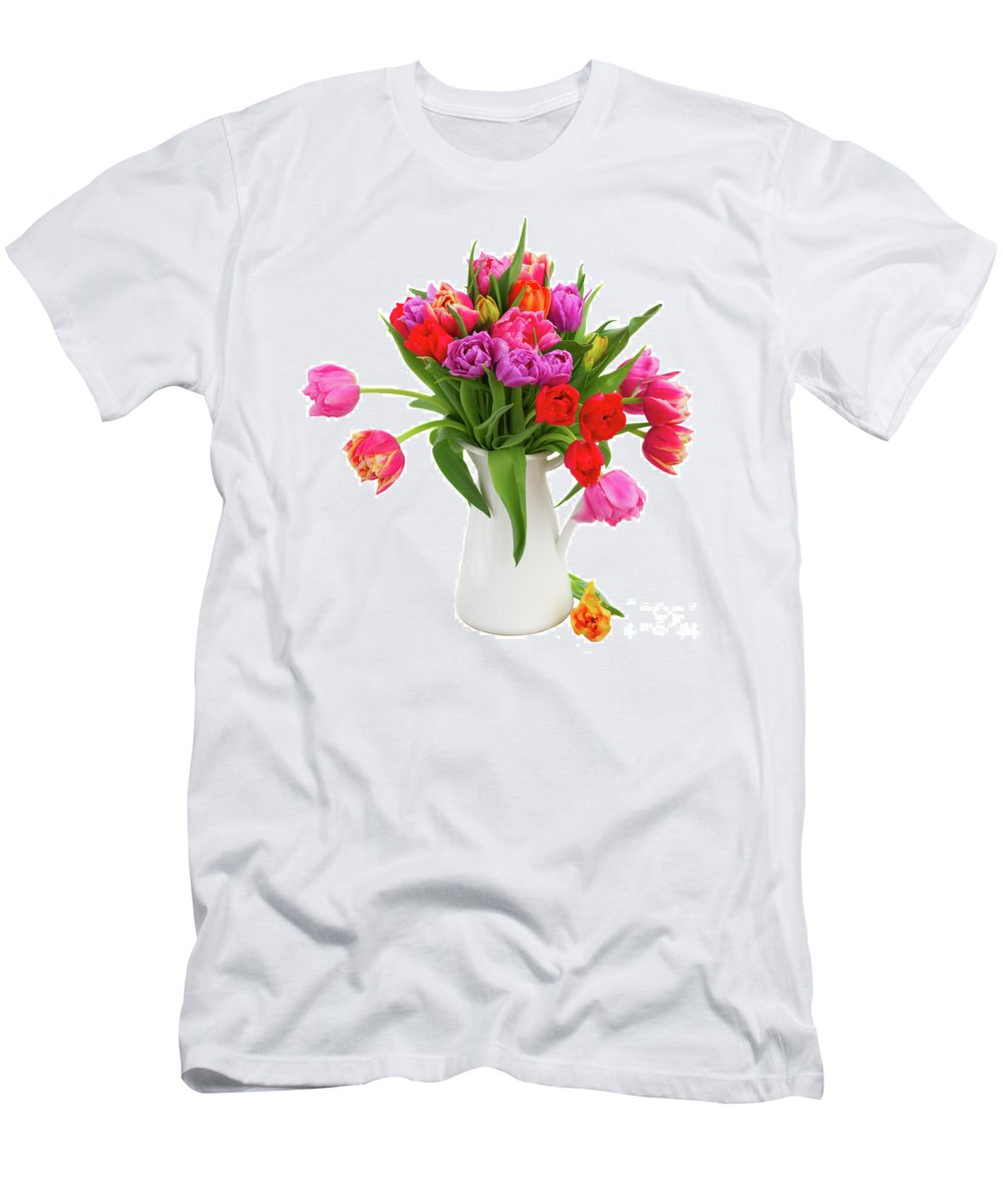 Tulip Men's T-Shirt (Athletic Fit) featuring the photograph Double Tulips Bouquet by Anastasy Yarmolovich