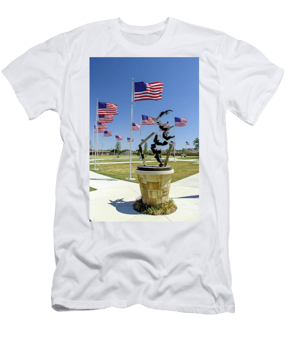 Memorial Day Men's T-Shirt (Athletic Fit) featuring the photograph Doves And Flags by Allen Sheffield