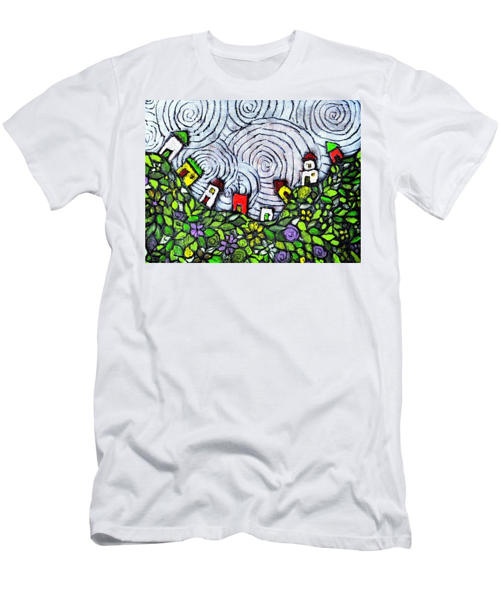 Folk Art Men's T-Shirt (Athletic Fit) featuring the painting Down In The Valley by Wayne Potrafka