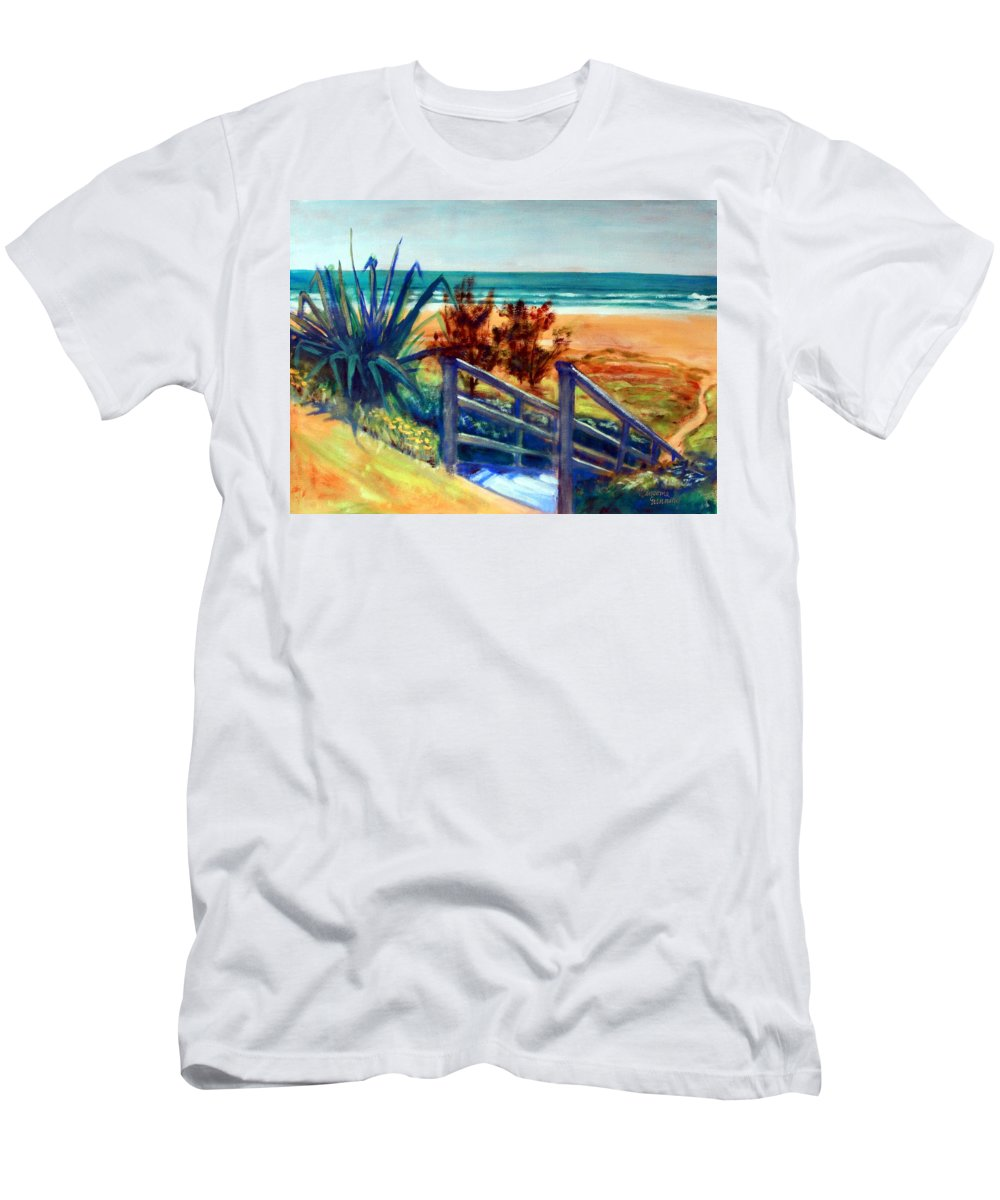 Beaches Men's T-Shirt (Athletic Fit) featuring the painting Down The Stairs To The Beach by Winsome Gunning