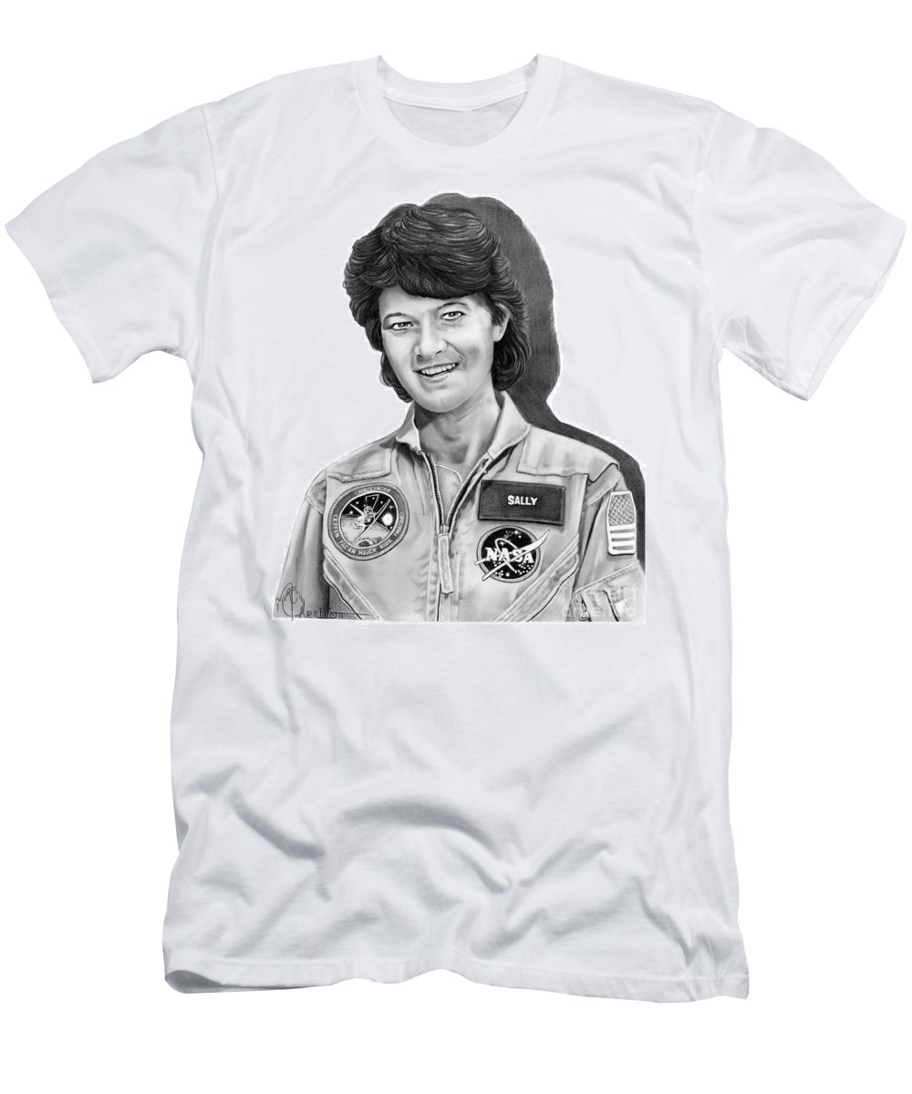 Pencil T-Shirt featuring the drawing Dr. Sally Ride by Murphy Elliott