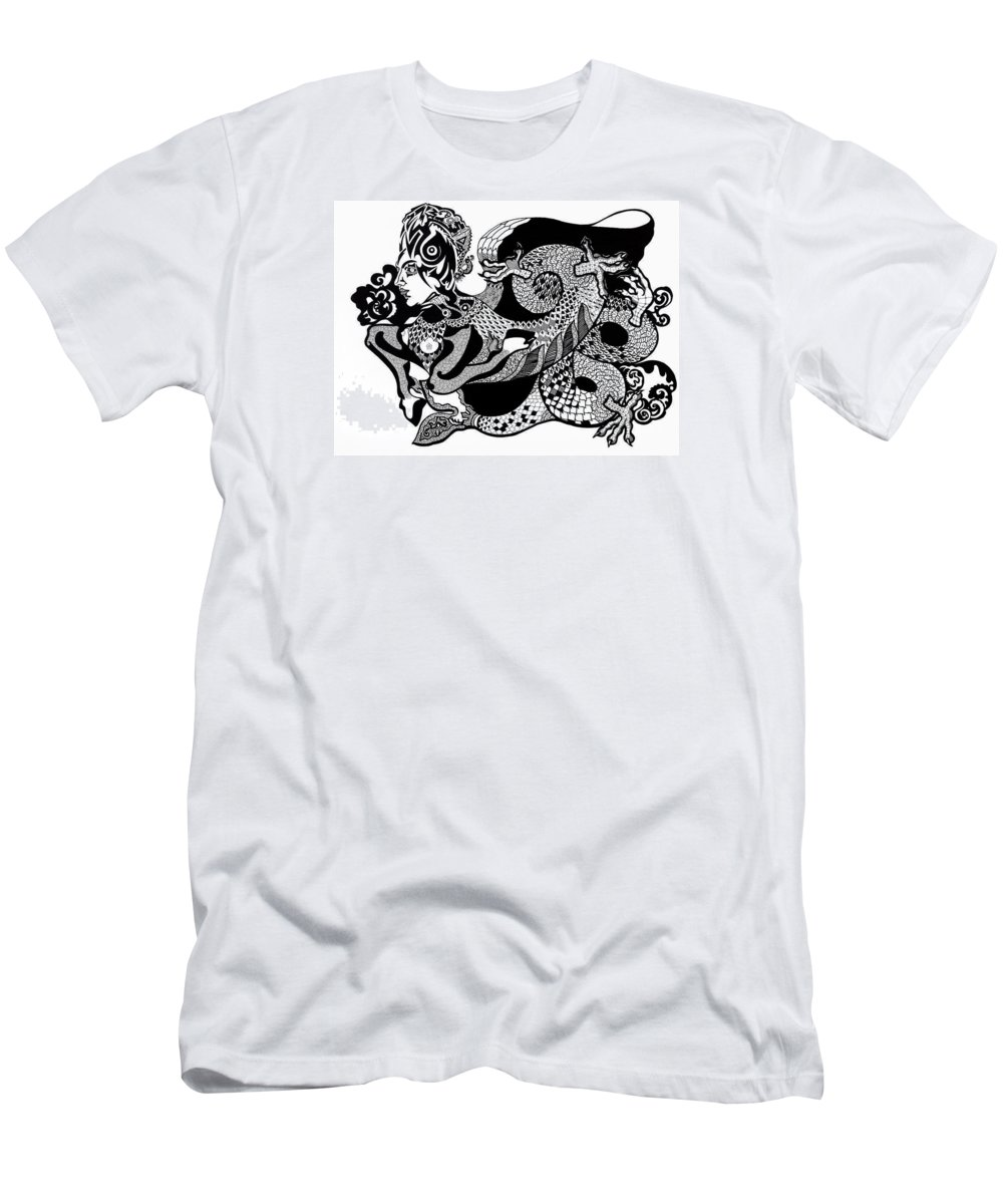 Fantasy Men's T-Shirt (Athletic Fit) featuring the drawing Dragon Lady by Yelena Tylkina