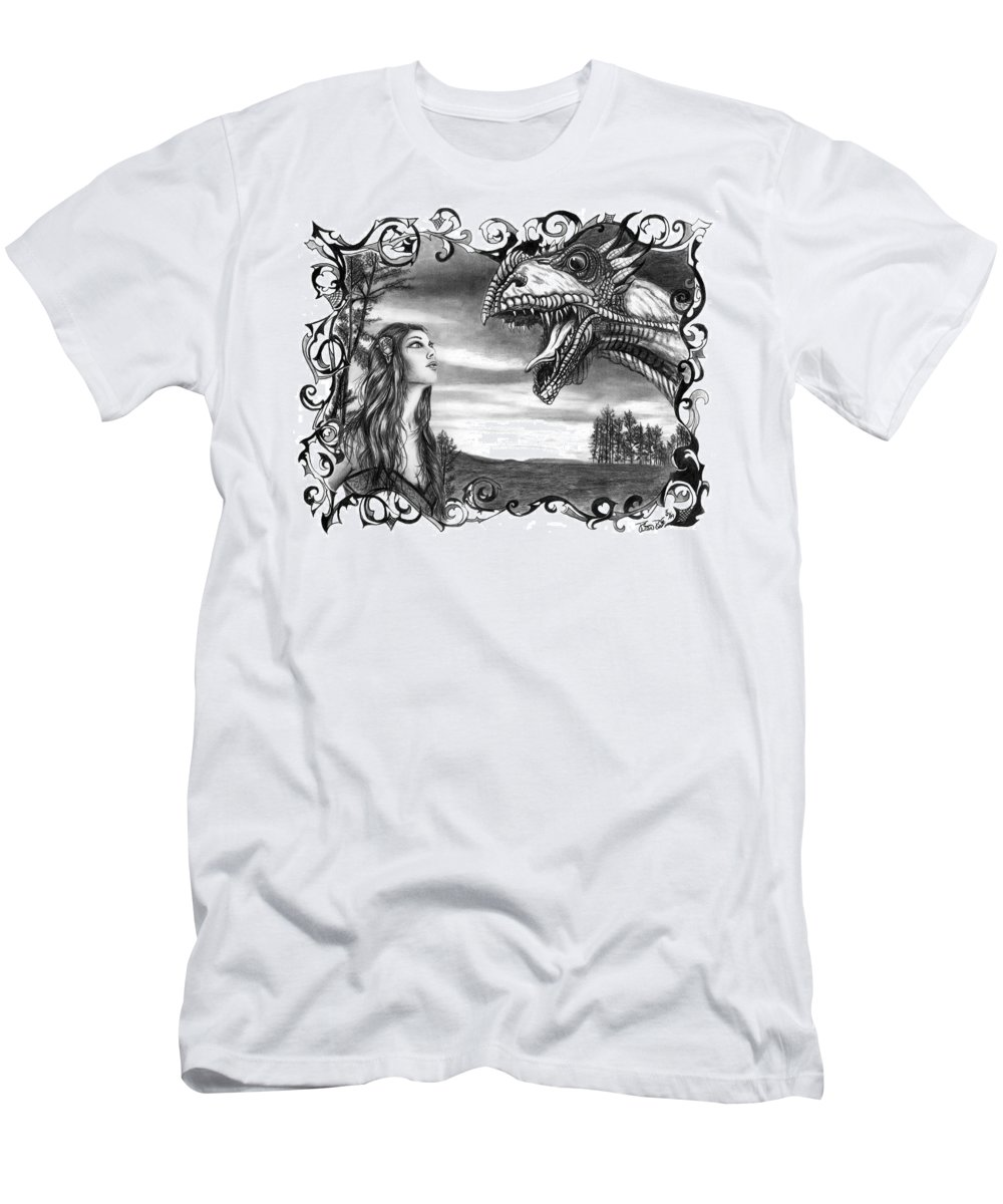 Dragon Whisperer Men's T-Shirt (Athletic Fit) featuring the drawing Dragon Whisperer by Peter Piatt