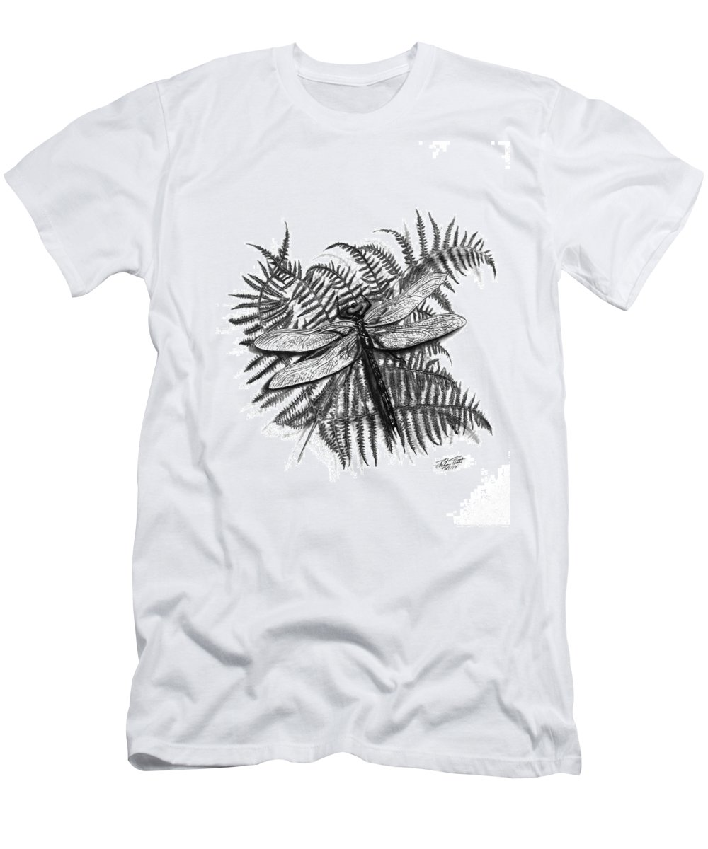 Dragonfly Men's T-Shirt (Athletic Fit) featuring the drawing Dragonfly by Peter Piatt